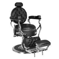 Бръснарски стол Цезар – сребристо и черно