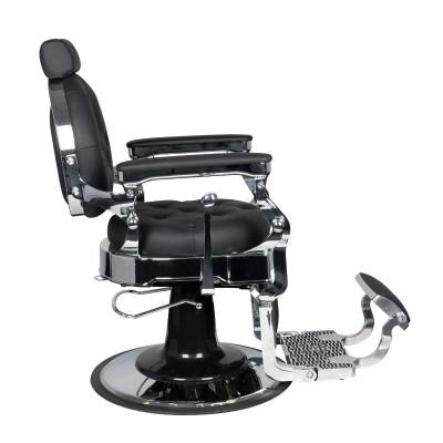 Бръснарски стол Клаудиус - черен със сребърно