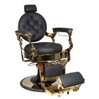 Бръснарски стол Клаудиус – черно и златно