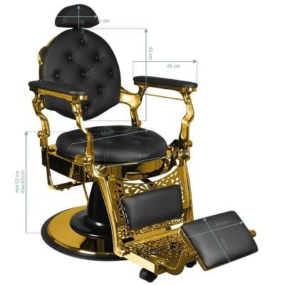 Бръснарски стол Джулио - черен със златно