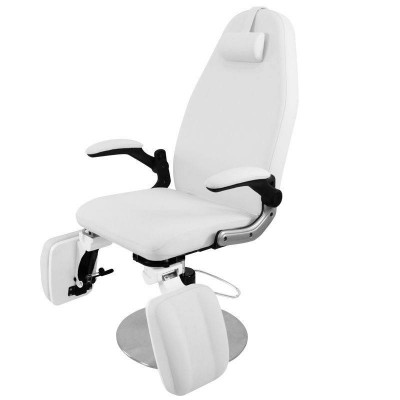 Бял хидравличен козметичен стол AZZURRO