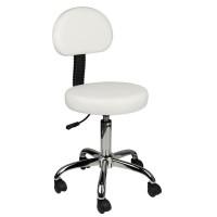 Козметичен стол с облегалка - бял