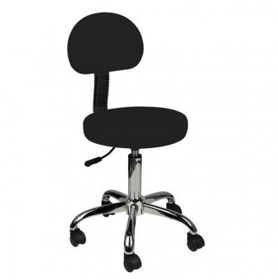 Козметичен стол с облегалка - черен