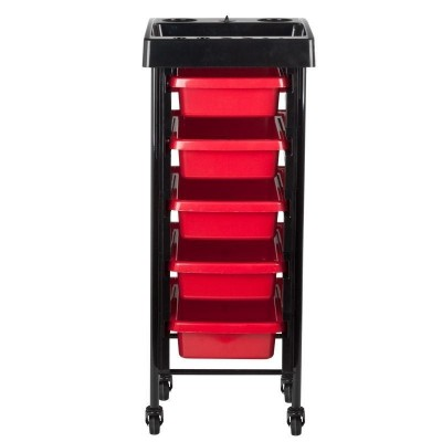 Червена фризьорска количка с таймер
