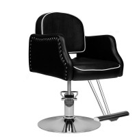 Ергономичен черен фризьорски стол