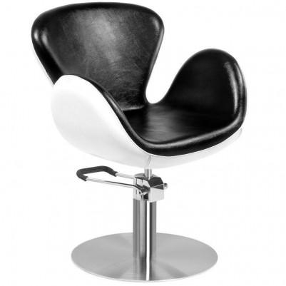 Фризьорски стол Амстердам - черно-бял