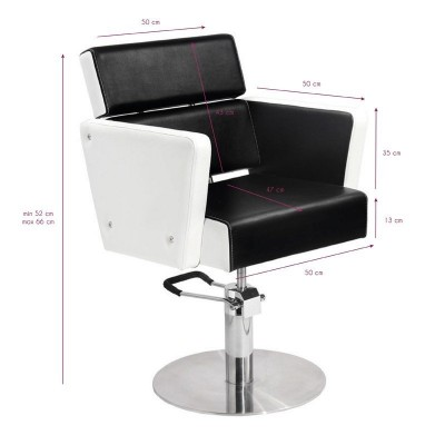 Фризьорски стол Дъблин - черно-бял