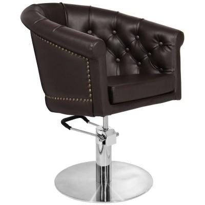 Фризьорски стол Лондон - кафяв