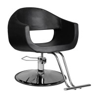 Фризьорски стол с поставка за крака – черен