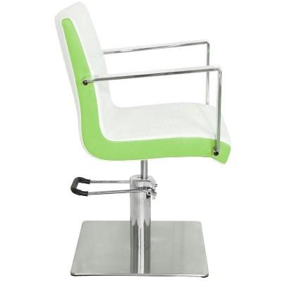 Фризьорски стол Рим - бял със зелен кант