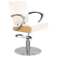 Кожен фризьорски стол - бял със златен кант