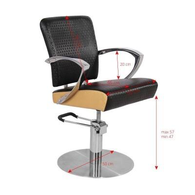 Кожен фризьорски стол - кафяв