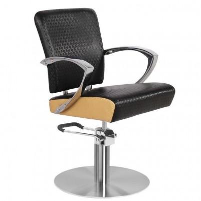 Кожен фризьорски стол - черен със златен кант