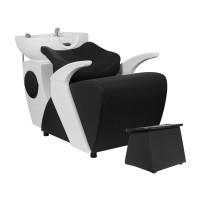 Модерна измивна колона – черна с бяла мивка