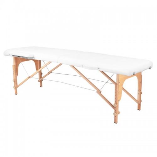 Сгъваема масажна кушетка дървена бяла